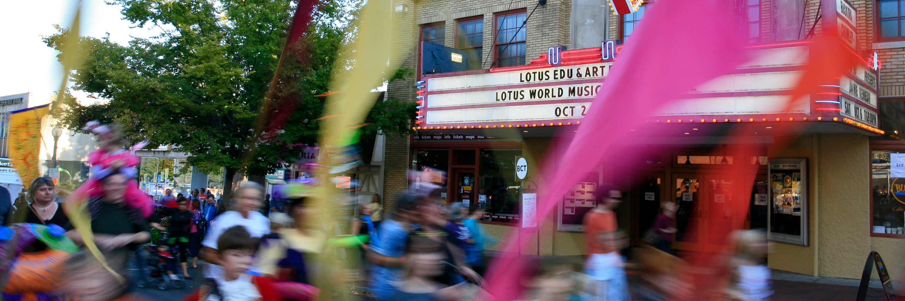 parade in front of the Bloomington Theatre