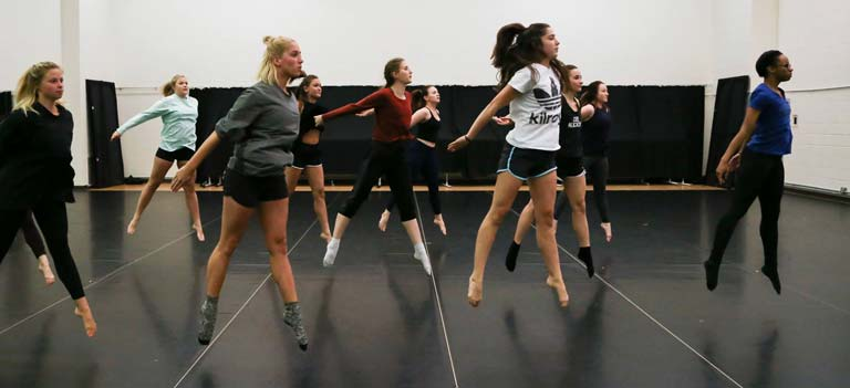 Dance students practicing.