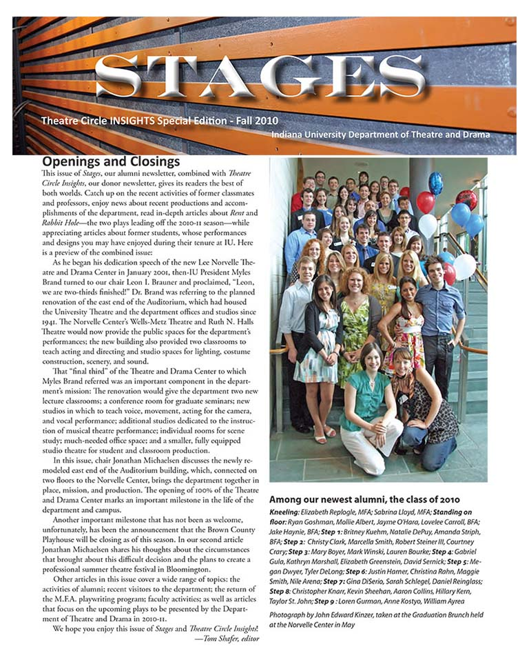 Stages Newsletter Fall 2010