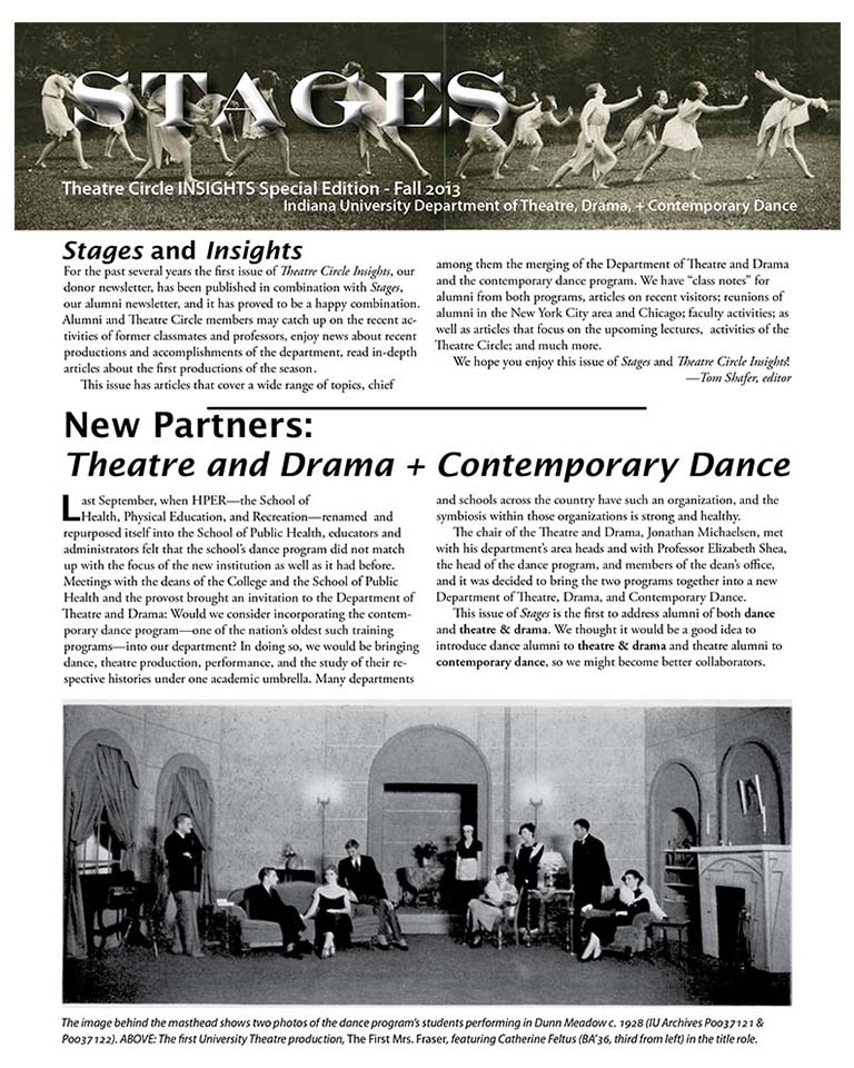 Stages Newsletter Fall 2013