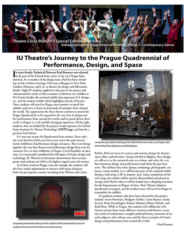 Stages Newsletter Fall 2014