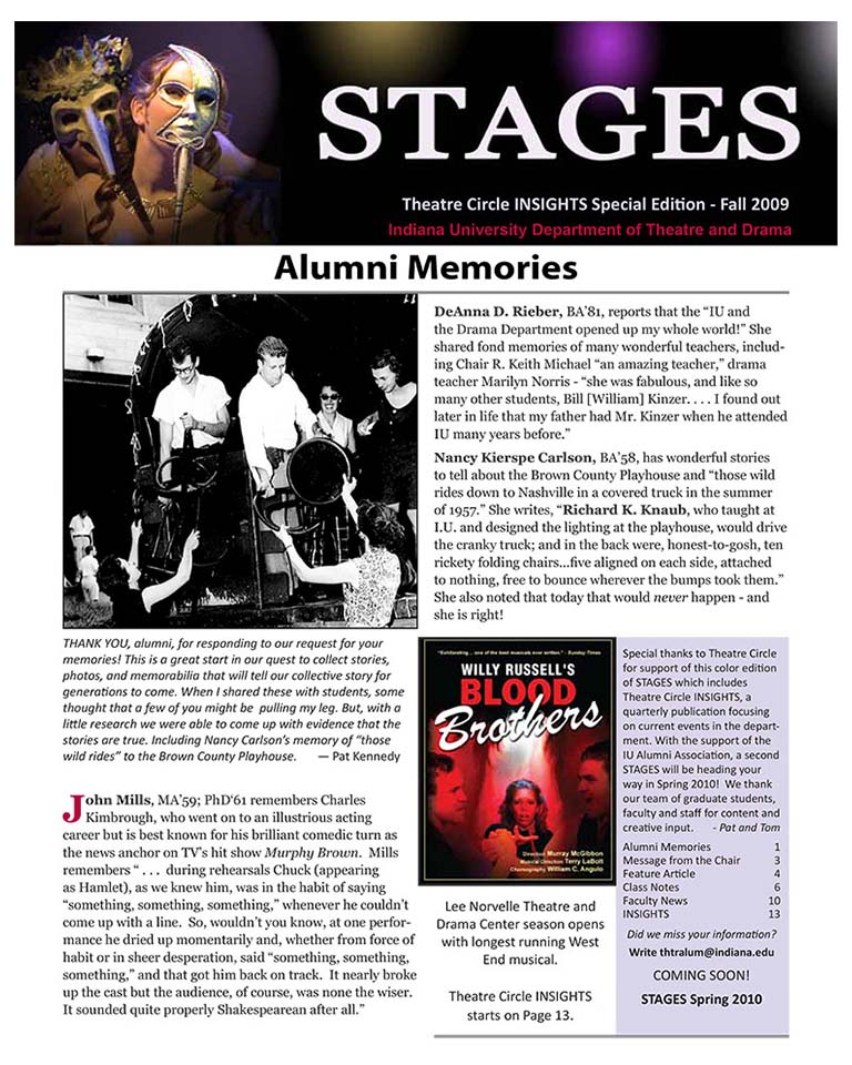 Stages Newsletter Fall 2009
