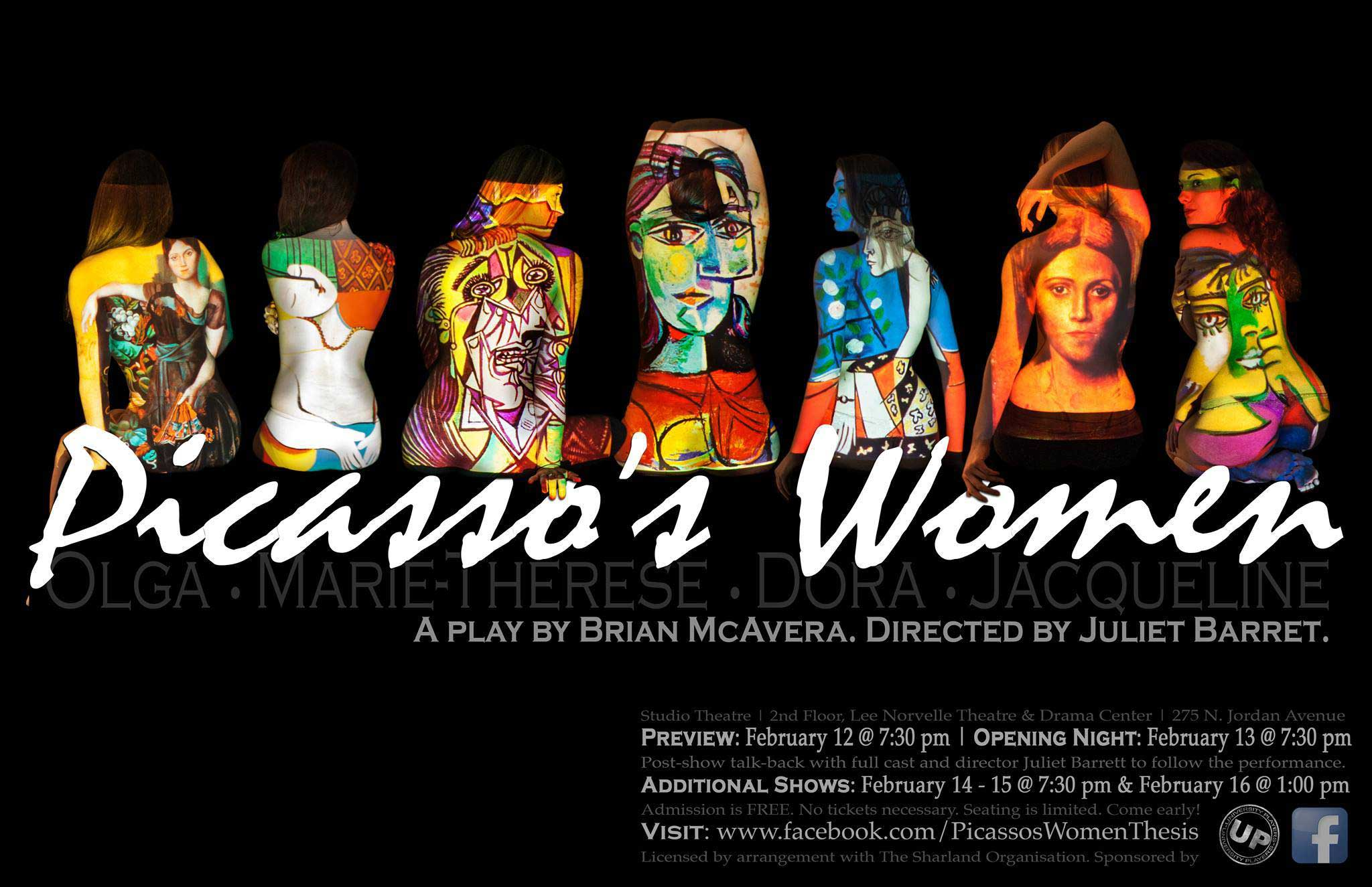 A poster image for Picasso's Women, an honor's project directed by Juliet Barrett.