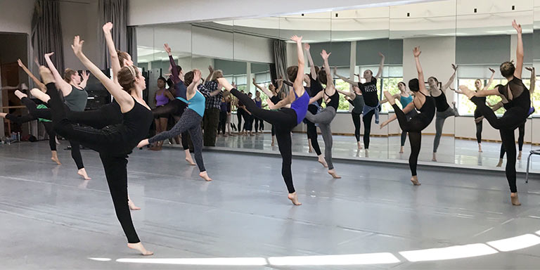 Group of students practicing choreography