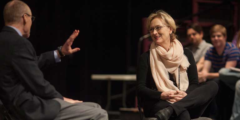Guest artist Meryl Streep speaking to a class.
