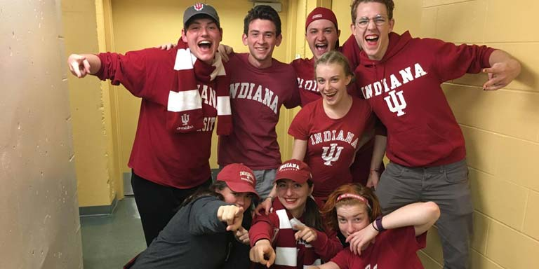 Group of men wearing Indiana University apparel